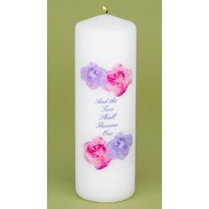 """White unity candle printed with """"And the Two Shall Become One"""" and watercolor flowers as shown. #timelesstreasure"""