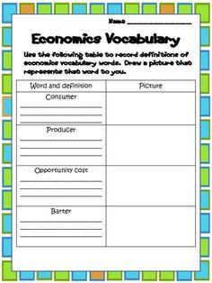 Economics for Second Grade freebie