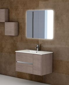 The modern design of the wall-hung (mount) Eviva Aries® 32 inch bathroom vanity…