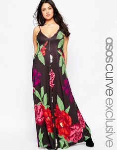 ASOS CURVE Strappy Maxi In Oversized Floral Print