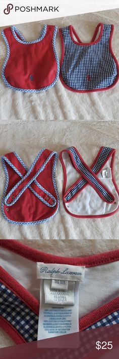 2 ralph lauren bibs Criss cross back bibs by baby Ralph Lauren adjustable straps. Gingham print blue and red style polo logo baby bibs these fit from infant to toddler. No stains perfect preloved ready for a new baby boy Ralph Lauren Other