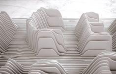Play Cafe Installation in New York, NY by Bird Works, Peter Himmelstein Architect, Emillie Baltz Architecture Details, Interior Architecture, Architecture Models, Gropius Bau, Landscape Model, Digital Fabrication, Artistic Installation, Parametric Design, Pattern Design