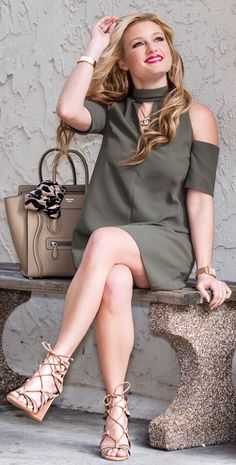 #spring #outfits Green Open Shoulder Dress / Brown Laced Up Sandals