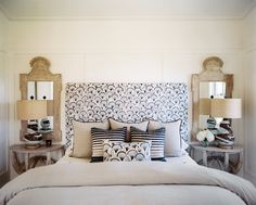Guest Bedroom featuring Katie Leede and Zak&Fox fabrics & Bunny Williams lamps by Hillary Thomas