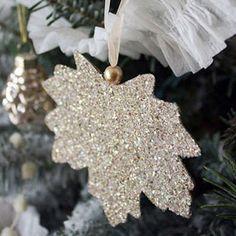 DIY Glitter Leaf Christmas Ornament