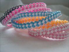 Gimp Bracelets - love the craft store! Gimp Bracelets, Lanyard Bracelet, Lace Bracelet, Paracord Bracelets, Friendship Bracelets, Lanyard Crafts, Bracelet Crafts, String Crafts, Fun Crafts