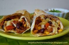 Burrito w tortilli kukurydzianej Calzone, Tacos, Mexican, Ethnic Recipes, Food, Suppers, Mj, Ground Meat, Meal