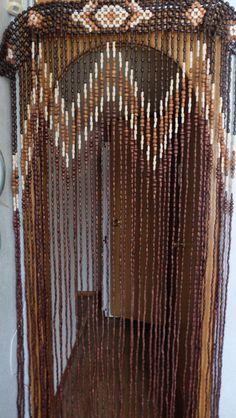 Vintage Wood Curtain, Door Beads, Beaded Curtains, Beaded Door Curtain. Wood Bead Door Curtain. Boho Chic Decor. Hippie Hippy, Boho Decor. by RAGMAN770 on Etsy