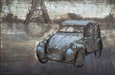Een mooi model oude auto bij de Eiffeltoren.Het is een auto uit de jaren 60 of 70.