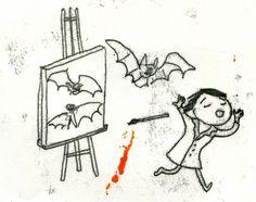 Artist and Bat  #elleaimetekent Gail Mounier.elleaime drawingchallenge #illustration #illustrator #monotype #monotypie #printmaker #doodle #drawing #quicksketch #instaart #illustagram #instadraw #instadoodle #instadrawing #handdrawn #bat #vampire #painter #illustrationchallenge #illustrationprompts #drawingeveryday #sketchaday #drawingaday #doodlechallenge #dailydrawing #createeveryday