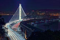 The New and Old Bay Bridge at Night