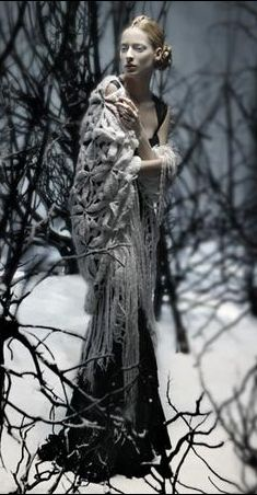 Mucha inspired..? what a fabulous look-the shawl the dress the hair and the alabaster skin!