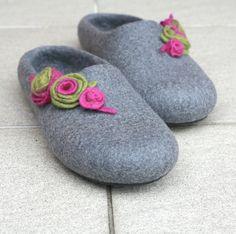 Women felted wool slippers  grey felt slippers with by AgnesFelt, $89.00