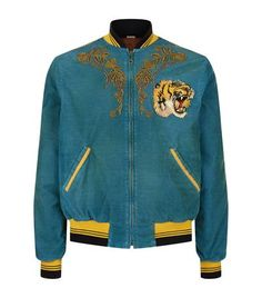 Gucci Dragon-embroidered Corduroy Cotton-blend Bomber Jacket In Blue Corduroy Gucci Jacket Mens, Mens Corduroy Jacket, Denim Jacket Men, Gucci Denim, Gucci Gucci, Embroidered Bomber Jacket, Men Dress, Menswear, Men's Jackets