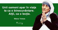 Fiecare întâlnire are un rost, citat de Maica Tereza Sola Fide, Religion, Memes, Quotes, Life, Random, Google, Photography, Quotations