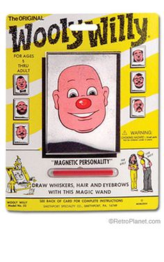 You used the magnet in the wand to arrange the iron shavings to give him hair or a beard.