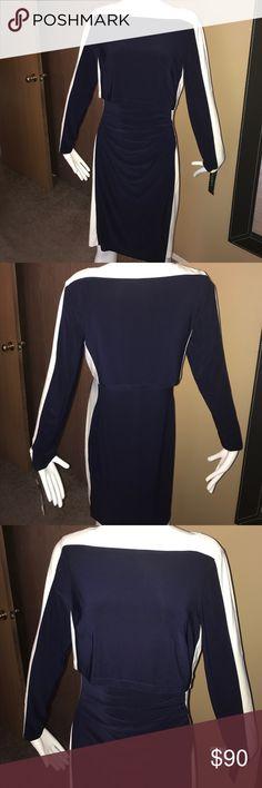 Lauren Ralph Lauren Navy Colorblock Dress sz 12 Brand-new never worn, sz 12, 95% Poly, 5% Elastane Lauren Ralph Lauren Dresses Midi