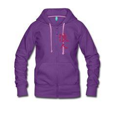 RoninZ Purple Samurai Hoodie [Premium Ladies]  Kanji Ronin auf der Brust Logo Samurai auf dem Rücken Design by Ottar André Vassenden