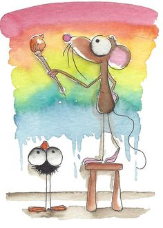 Painting Rainbows Painting  - Very cute whimsical mouse art <3