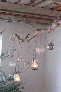 Decoration branch with tea lights, fun and beautiful atmosphere.