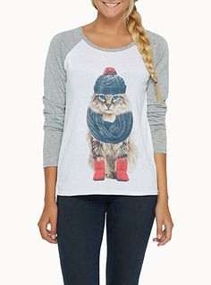 Exclusively from Twik     Cat lovers, this tee is for you!   Wrapped up kitten print on the front and back   Sporty-inspired raglan sleeves   Loose-fit silky stretch jersey for a casual look   The model is wearing size small