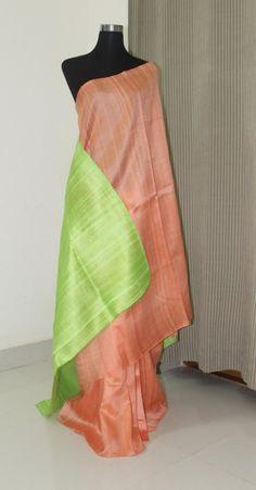 Pure raw silk saree in double shade