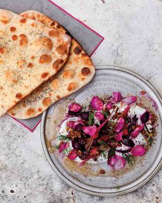 Beets and Yogurt with Pickled Rose Petals (Served with Poppy Seed Lavash)