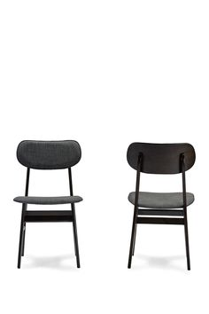 Wholesale Interiors Debbie Mid Century Dark Brown Wood Grey Faux Leather Dining Chair - Set of 2