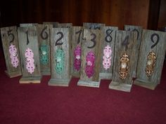 Rustic Table Numbers door knob key wedding barn wood mint green country weddings reception decorations beach vintage