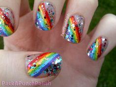 packapunchpolish:  RAINBOW nails    Rainbow done with acrylic paint