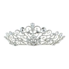 Kate Marie 'noma' Rhinestones Crown Tiara Headband in ($70) ❤ liked on Polyvore featuring accessories, hair accessories, jewelry & watches, silver, rhinestone crown, hair bands accessories, prom crowns, head wrap headband and tiara headband