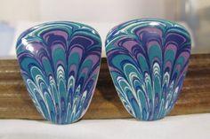 Vintage Blue Multi Color Ceramic Enamel Paisley Post Drop Earrings  #Avon #DropDangle