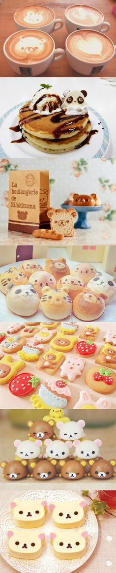 Cute Rilakkuma Sweets #cute #kawaii #rilakkuma #bear #sweet #dessert #coffee