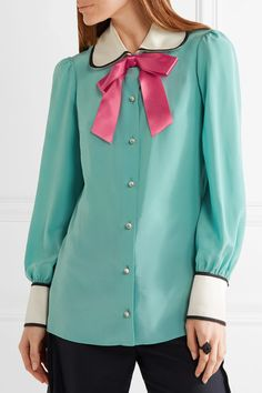 Jade silk crepe de chine, white and pink satin Button fastenings through front 100% silk; trim 100% polyester Dry clean Made in Italy
