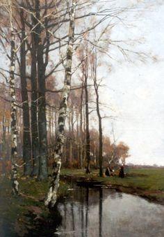 Johannes Petrus Paulus 'Paul' Bodifée (Deventer 1866-1938) Boerinnen bij een beek langs een bosrand - Kunsthandel Simonis en Buunk, Ede (Nederland).