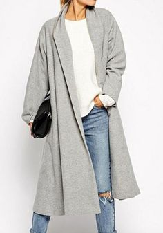 Grey Plain Pockets Long Sleeve Casual Cotton Outerwear