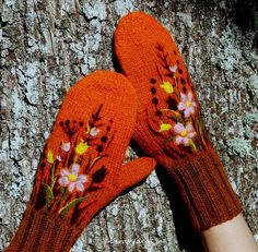 Knitted Wool Mittens with flower meadow. So beautiful. $44