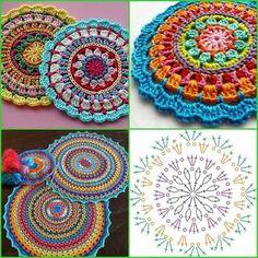 Best 12 mandalas a crochet patrones – SkillOfKing. Crochet Mandala Pattern, Crochet Square Patterns, Crochet Circles, Crochet Stitches Patterns, Crochet Chart, Crochet Gifts, Diy Crochet, Crochet Hooks, Crochet Dishcloths