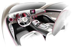 Mercedes-Benz Concept A-Class Interior Design Sketch Car Interior Sketch, Car Design Sketch, Interior Rendering, Interior Concept, Interior Design Classes, Car Interior Design, Interior Trim, Auto Design, Mercedes Benz Interior
