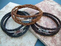 Mens Triple Wrap Braided Leather Bracelet by UrbanSurvivalGearUSA, $27.99