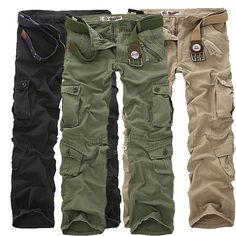 $36.89 Men's Plus Size Outdoor Tactical Pants Multi Pockets Casual Cotton Cargo Pants - NewChic