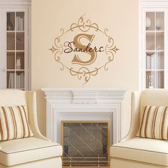 Family Monogram Wall Decal Personalized Initial by FabWallDecals