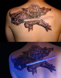 Not only is this giant tattoo of Yoda in mid-attack awesome, but it glows in the dark.  Read more: http://www.methodshop.com/2014/02/star-wars-tattoos.shtml#ixzz3D0yon3cL