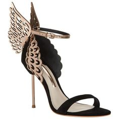 Sophia Webster Evangeline Rose Gold Sandal ($615) ❤ liked on Polyvore featuring shoes, sandals, decorating shoes, embellished sandals, strappy shoes, rose gold shoes and embellished shoes