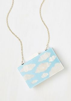 Dancing On Cloud Nine Clutch - Blue, White, Daytime Party, Fairytale, Pastel, Quirky, Better, Novelty Print