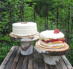 Set of 2 Birch Rustic Dessert Cake Stands Wood  Wedding Garden Party Bridal Shower Shabby Chic Tree Trunk Slice