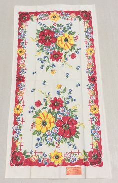 Vintage Towel Garden of Red Wild Roses MWT by unclebunkstrunk