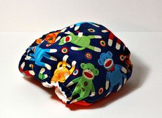 Sock Monkey Newborn All In Two Cloth Diaper by CatandWolfDesigns, $16.00