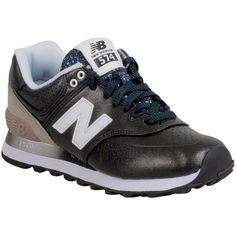 New Balance Women's 574 Gradient Low-Top Sneaker ($80) ❤ liked on Polyvore featuring shoes, sneakers, black, new balance sneakers, sport sneakers, black shoes, black trainers and metallic sneakers