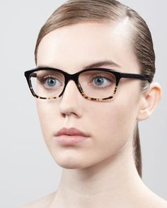 Racine Fashion Glasses, Black/Tortoise - Neiman Marcus